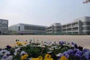 花と校舎全景