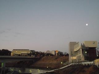 キャンパスと夜明けの前の月