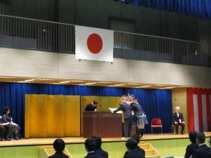 中学校の卒業証書授与式